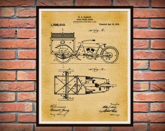 Patent 1914 Harley Truck 3 Wheel Truck - Poster - Wall Art - Harley Davidson Motorcycle - Bike - Motor Bike - Harley Tricycle - Harley Trike