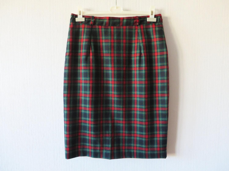 green plaid new wool skirt scottish tartan pencil