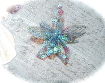 Sequin Blue & Lavender Flower Craft Supply Milinery Supplies FL-104