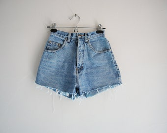 90s High Waisted Cut Off Jean Shorts With Large Leather Back Patch