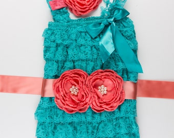 3 piece Teal & Coral Petti Lace Romper set, Birthday Outfit, Lace baby romper, Baby girl romper, Cake Smash Outfit