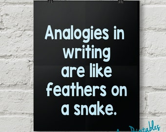 Analogies, Punctuation, Grammar, Teacher, Classroom, Wall Art, Dorm Art, Instant Download
