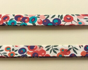 Wiltshire A Liberty Bias Binding Tape tana lawn blue turquoise white red pink christmas berries The Weavers Mill