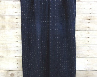 50% OFF. 1980s Alfred Sung Navy Blue Polka Dot Pants. High Waisted Wool Pants Size 4.