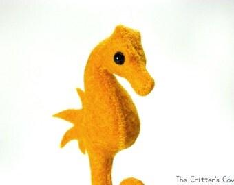 Orange Seahorse - Felt Seahorse Plush