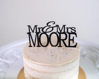 Mr & Mrs Custom Name Cake Topper