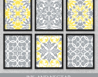 Yellow And Grey Wall Art gray wall decor