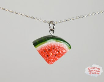 Watermelon Necklace - Handmade Food Jewelry by Custom Charm Farm