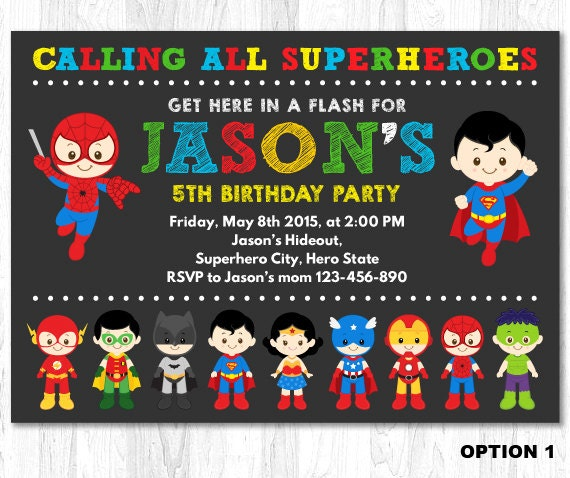 superheroes birthday party invitations