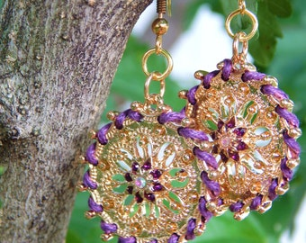 Purple and Gold Filigree Earrings, Gift for her