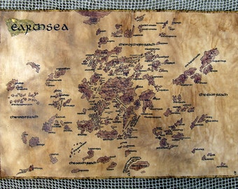 MTO. Big, handdrawn, realistic Earthsea map. (Please, read description). Fully handmade. Imitates parchment.