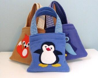 PENGUIN: Children's Fleece, Cotton and Felt Penguin Bag