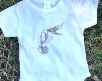 SALE, Organic Baby Clothes, Bird, Onesie, Baby Girl, Baby Outfit, Bird, Onesie,  Handmade, Fair Trade, Gender Neutral, Fair Trade