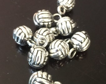 4PC Volleyball Charm-3D Volleyball Charm-Sports Charm-Antique Silver Tone Charms