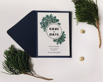 Botanic succulent Save the date, Watercolor Succulent Wedding Invitation Printable, DIY Succulent Invitation, Succulent save the date