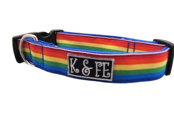 Rainbow Stripe Buckle Dog Collar