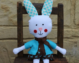 Soft toy boy bunny rabbit, handmade animal ragdoll, softy, plush toy