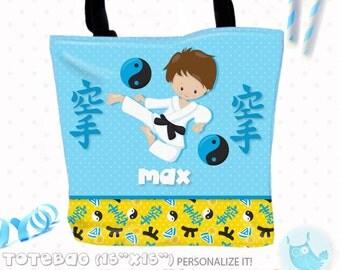 SALE Karate Personalized Tote Bags, custom Tote bag, sport kids tote, school tote, kindergarten tote, beach tote bag, Tote Bags TB123