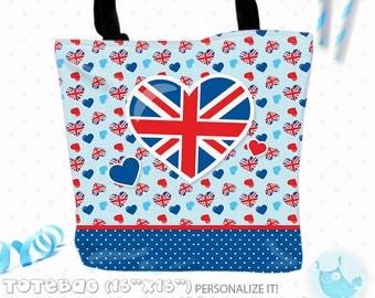 SALE London Personalized Tote Bags, custom Tote bag, kids tote, school tote, kindergarten tote, beach tote bag, london Tote Bags TB110