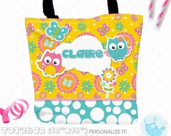 SALE Owl Personalized Tote Bags, custom Tote bag, kids tote, school tote, kindergarten tote, beach tote bag, owls Tote Bags TB103
