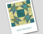 BIRTHDAY CARD for Quilters and Quilt Lovers - Set of 2 Notecards - Cut Paper Design by Linda Henry (Q2015061)