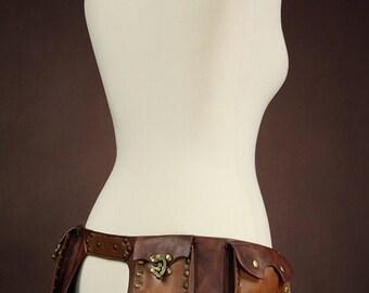 steampunk utility belt with 4 pockets (size L)