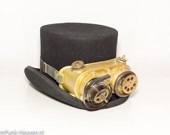 Steampunk woolen hat 14 with welding goggles