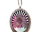 Psychedelic Cat Necklace Pendant Trippy Visionary Pop Art - Festival Art Op Art Neon - Rave EDM Kitty - Tomorrowworld