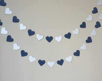 Navy and Silver Glitter Heart Garland, Valentine's Day Decor, Navy and Silver Decor, Bridal Shower Decor, Wedding Decor, Heart Garland