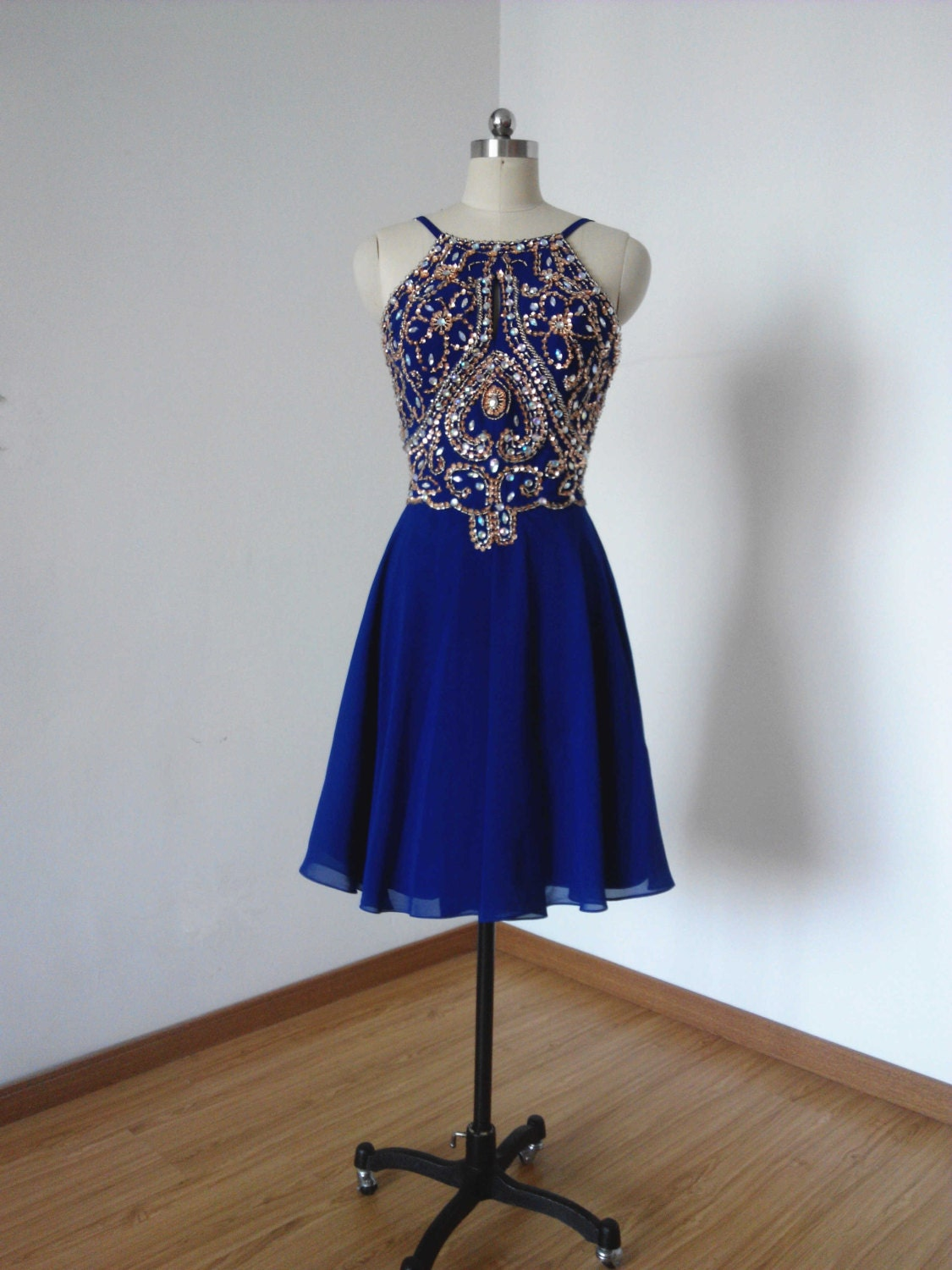 Blue chiffon dress - Etsy