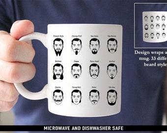 Coffee Mug Beard Styles Coffee Mug - 33 Different Beard Types - Great Gift for Beard Lovers