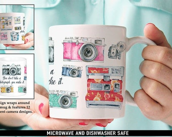 Coffee Mug Photography Quote and Vintage Cameras Coffee Mug - Great Gift for Photographer