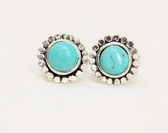 Turquoise Flower Ring, Turquoise Ring, Turquoise Jewelry, Turquoise Silver Ring, Semi Precious Stone Ring, Turquoise Stone Ring,