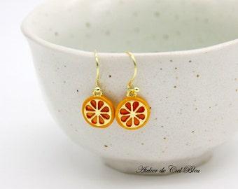 Orange Earrings, Orange Slice Earrings, Fruit Earrings, Food Earrings, Gold Plated Enamel Orange Slice Earrings, Orange Jewelry