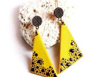 Mustard yellow earrings Triangular earrings Modern earrings Geometric earrings Summer gifts Yellow jewelry gift One of a kind jewelry Gift