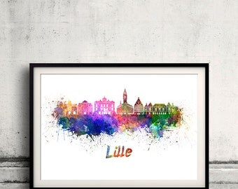 Lille skyline in watercolor over white background with name of city 8x10 in. to 12x16 in. Poster art Illustration Print  - SKU 0665