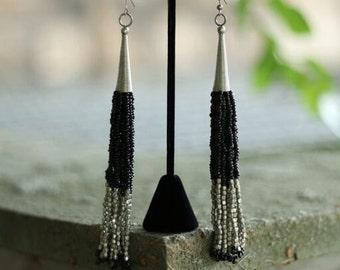 Long Metal Earrings in Black and Silver or Silver