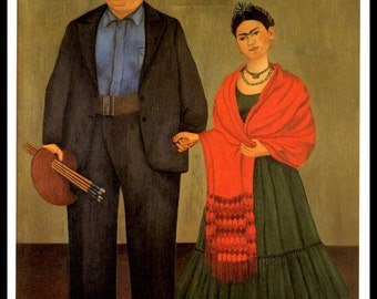 Frida Kahlo 1931 Painting, Frida And Diego Rivera, Vintage Print, 1990 Book Plate, Ready To Frame