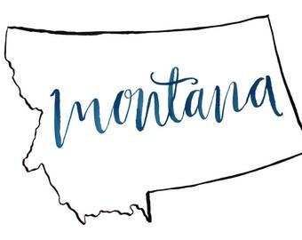 Black outline Montana Print