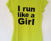 Lime Green or Black I Run Like A Girl Ladies T-Shirt, Size 8 10 12 14, Reflective Running Yoga Workout Exercise Gear Breathable Top Vest