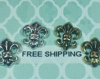 2 pc Antique Fleur di Lis Gold or Silver Alloy Charm Nail Art or Crafts *Free Shipping*