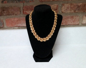Gold Chain Necklace, Vintage 1980's Knotted Chain