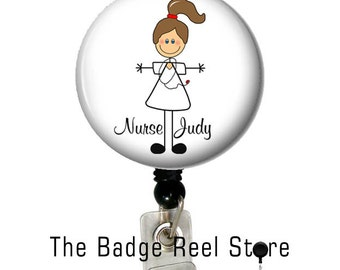 Badge Holder  - Retractable ID Badge Reel -  Badge Reel - Nurse - Personalized - Name