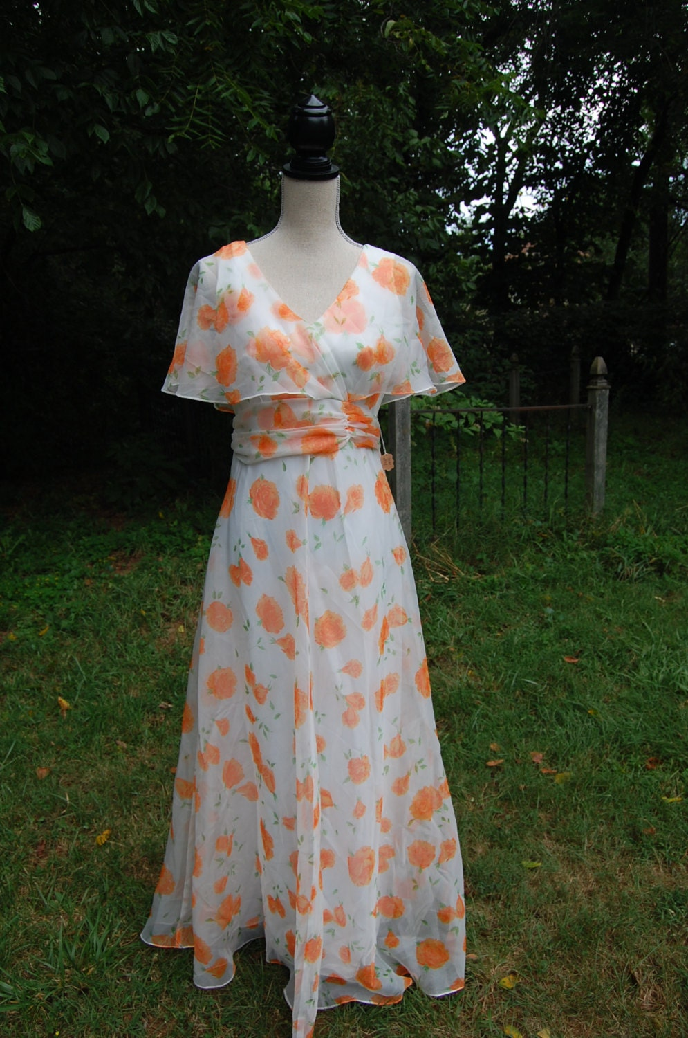 1960s 1970s prom party dress peach rose