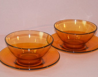 Retro 1970's Vereco France Amber Bowls and Plates Glassware
