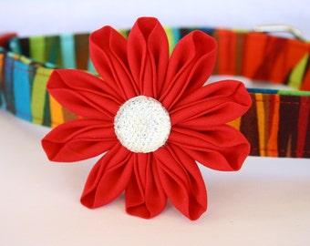 Red Fabric Kanzashi Daisy Flower Dog Collar Accessory