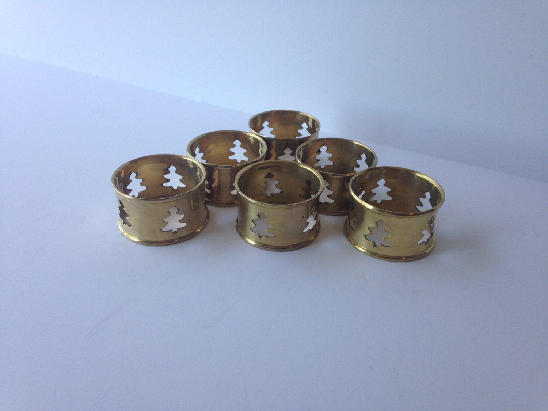 Napkin Rings Set Of Six Christmas Tree Hole Punch Brass