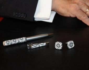 Men Jewelry set - Cuff Links - Cuff Links Personalized - Men Tie Clip - Polymer clay set - Handmade Pen - Jewelrylimanska