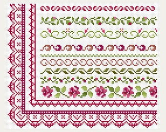 Cross Stitch patterns border - Counted cross stitch- Border Designs - Embroidery Borders- PDF- Instant download