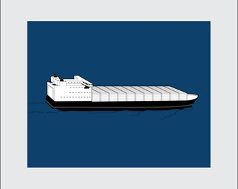 Cargo Ship Art Print, 8x10 PRINTABLE, Freighter, Instant Download, Digital